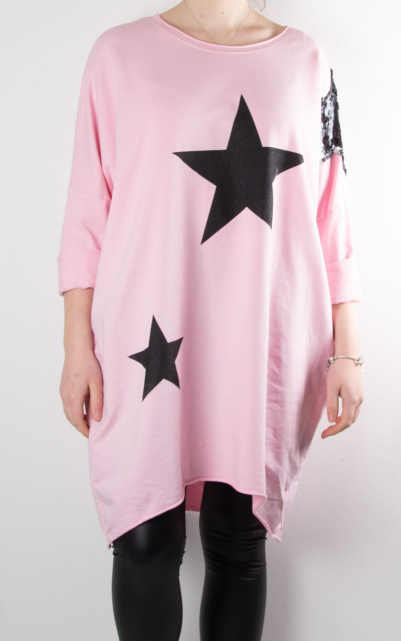 Sequin Star Shoulder Sweat | Pink
