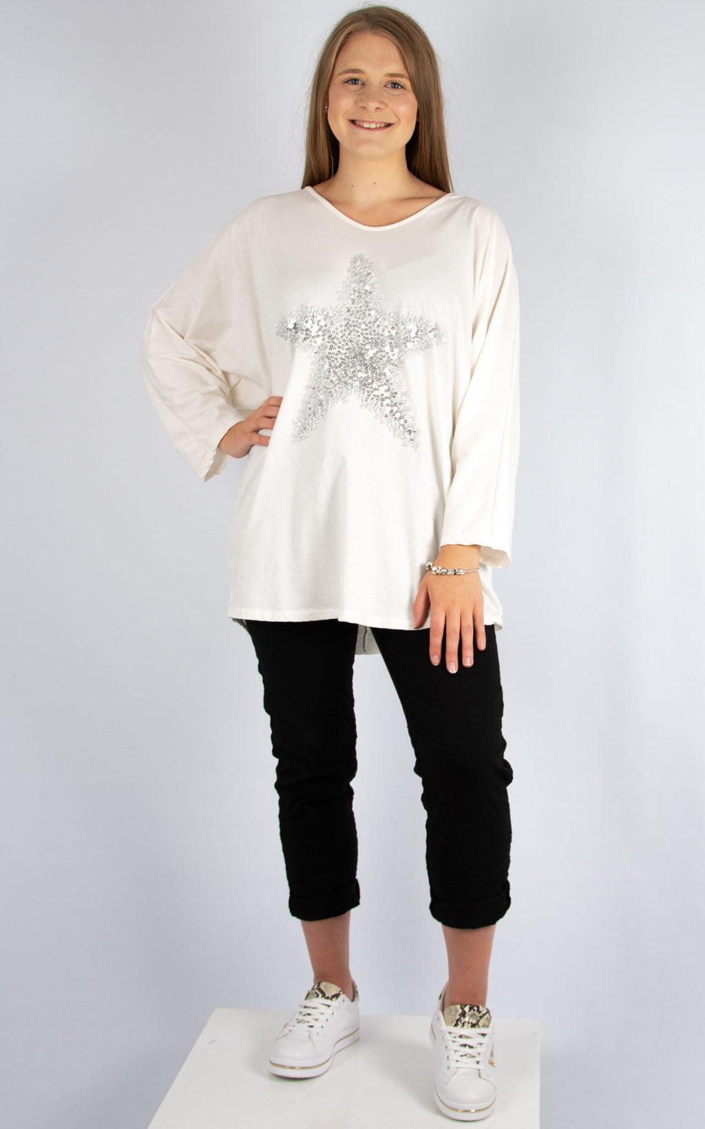 Top: V Neck Sequin Star Top | Cream