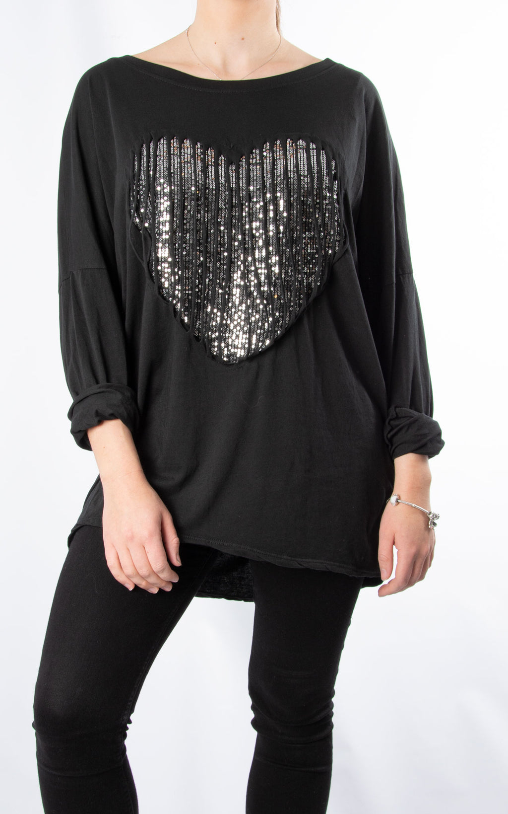 Sequin Caged Heart | Black