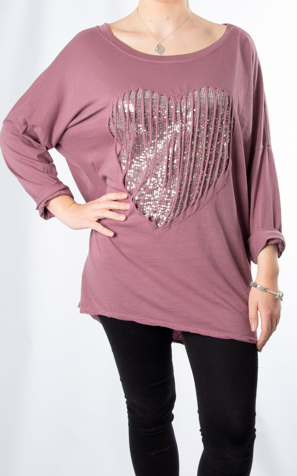 Sequin Caged Heart | Mauve