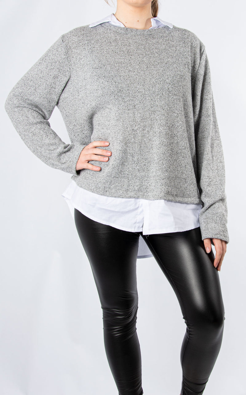 Shirt Jumper | Light Grey