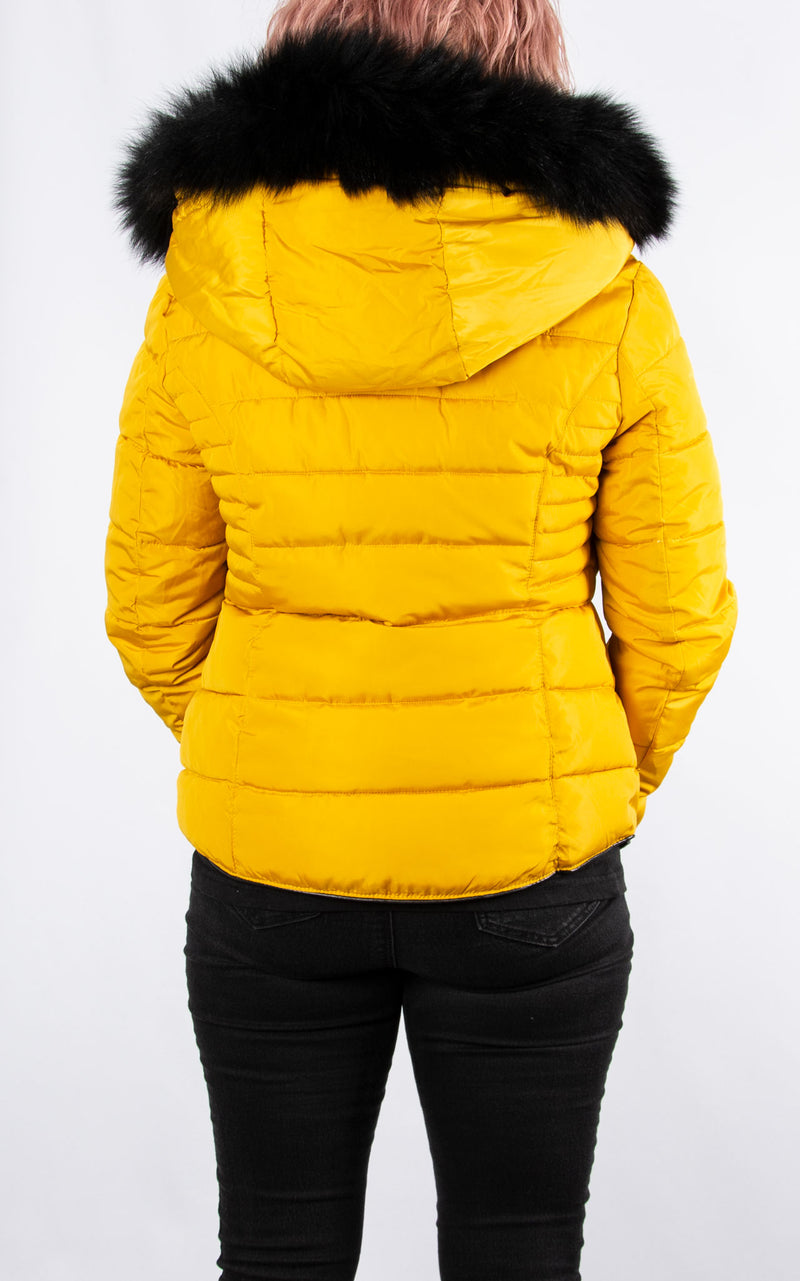 Short Fur Hood Coat | Mustard