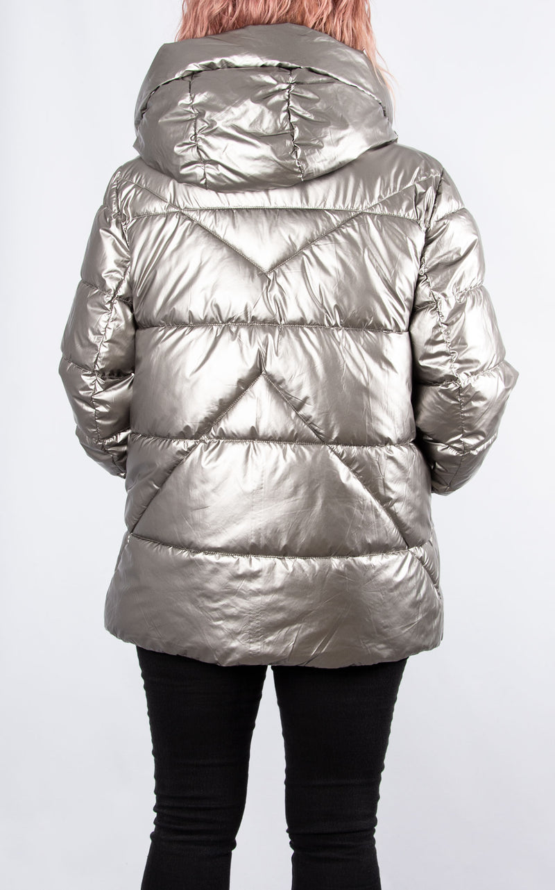Silver Metallic Bubble Coat