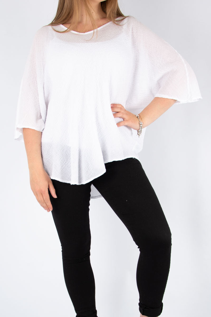 White Simple Crimple Batwing | Made in Italy