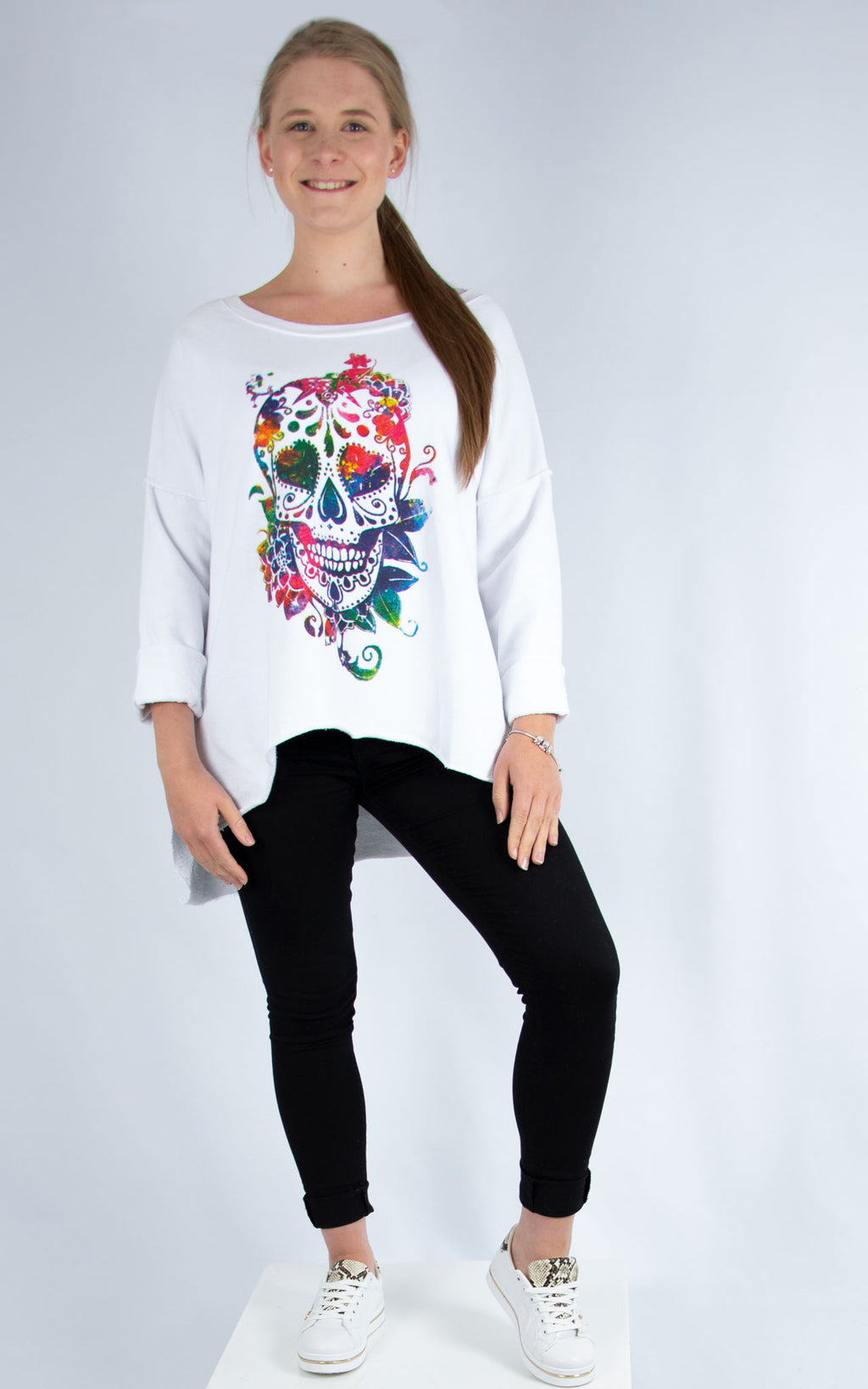 White Skull Sweatshirt | Made in Italy