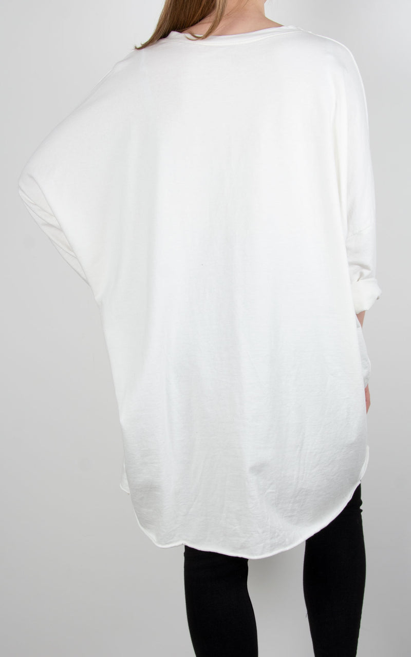 Skull Multi Zip Sweat| White