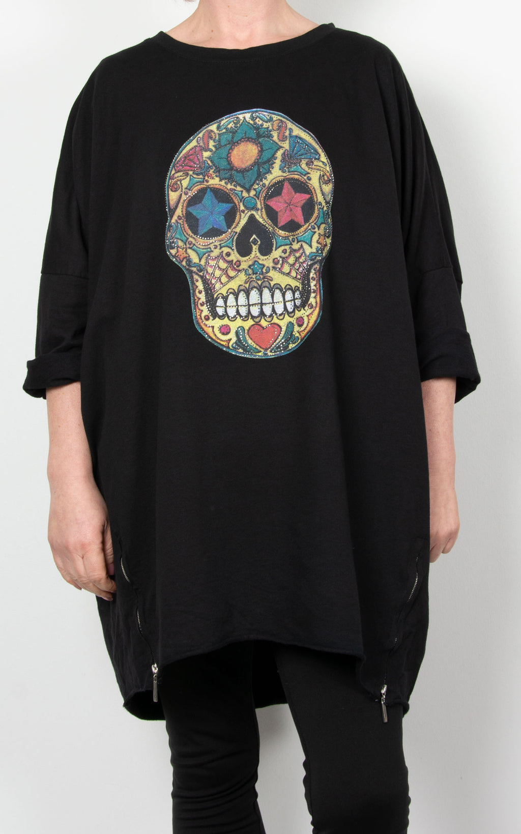 Skull Multi Zip Sweat| Black