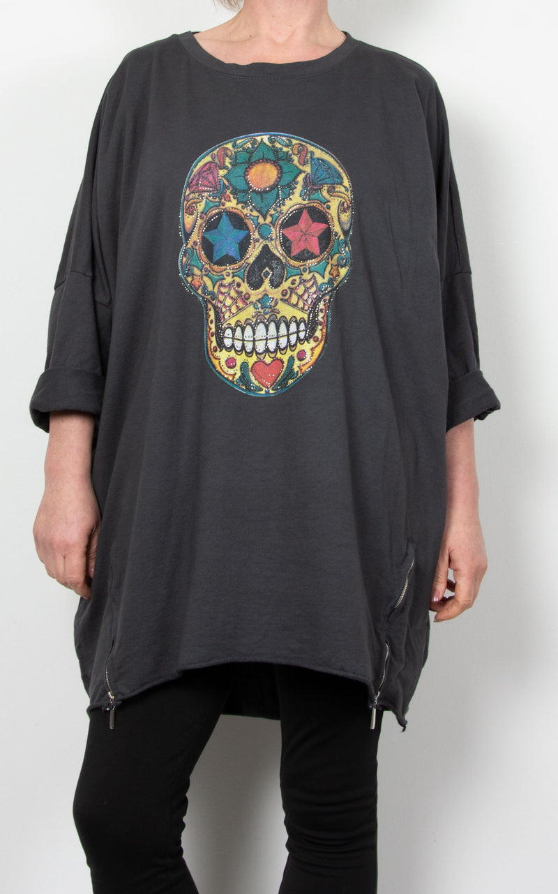 Skull Multi Zip Sweat| Charcoal