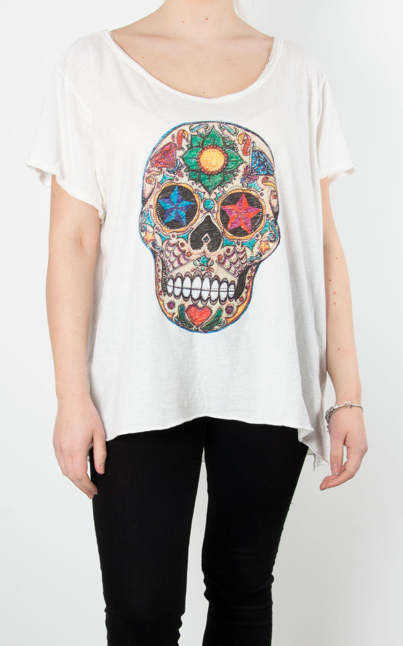 Skull Multi Zip T | White
