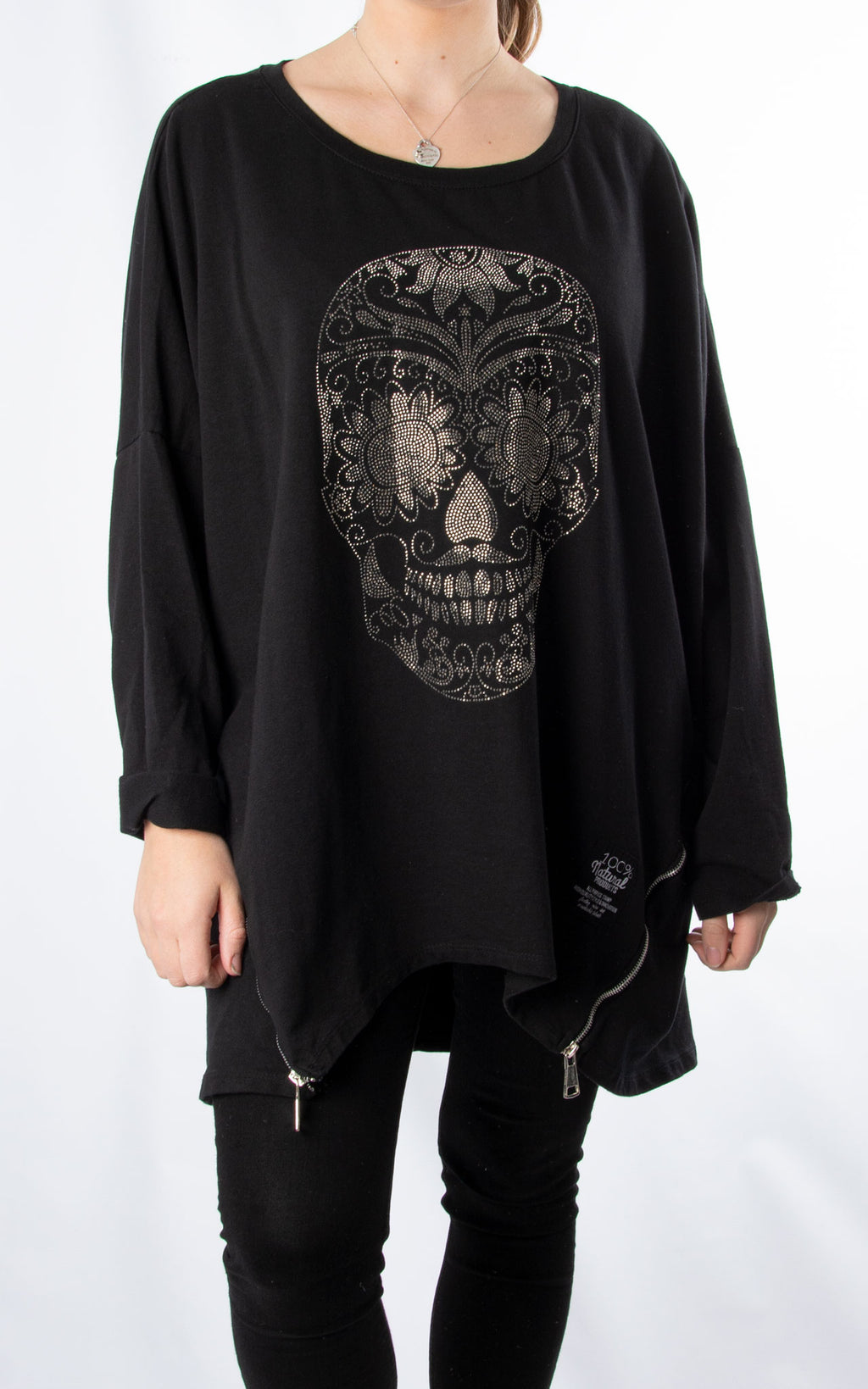 Skull Zip Sweat | Black