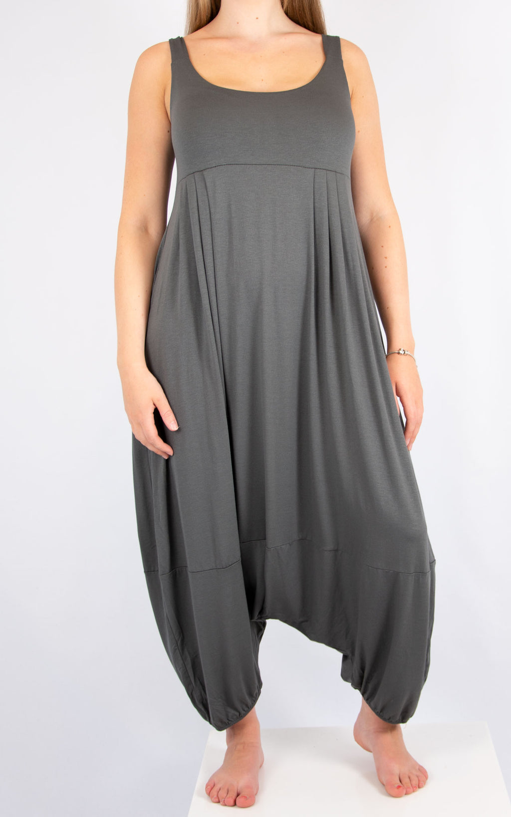 Dark Grey Sleeveless Jumpsuit | Made on Italy