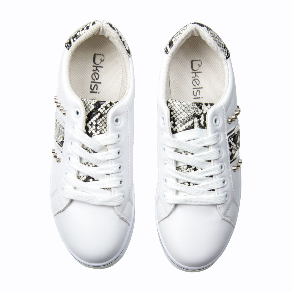 Shoes: Snake Print Trainer/Silver