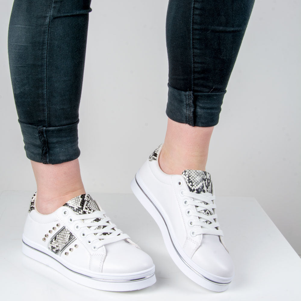 Snake Print Trainer/Silver