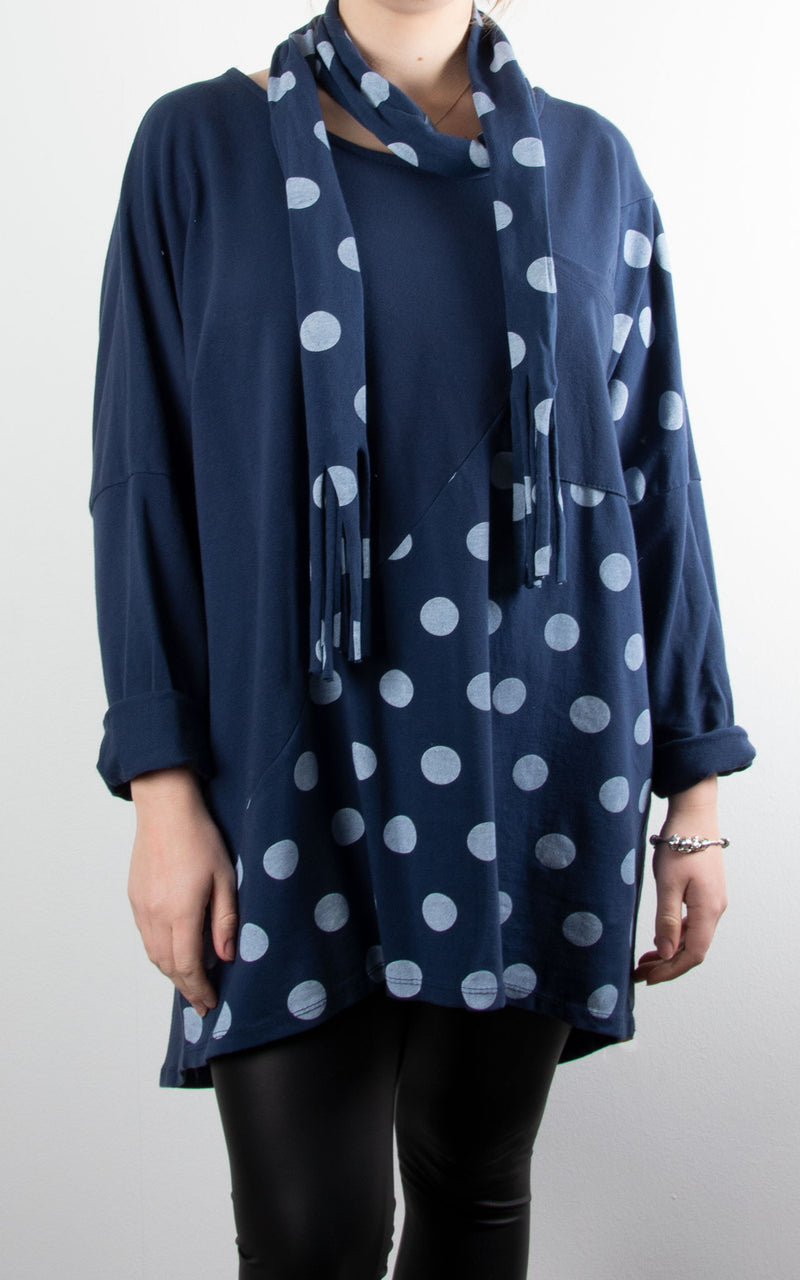 Spot Scarf Sweat | Navy