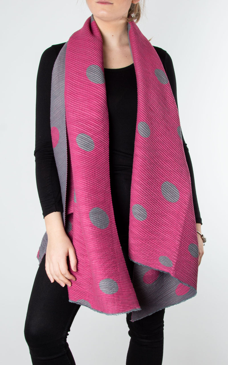 Spot Ribbed Scarf | Fuchsia & Grey