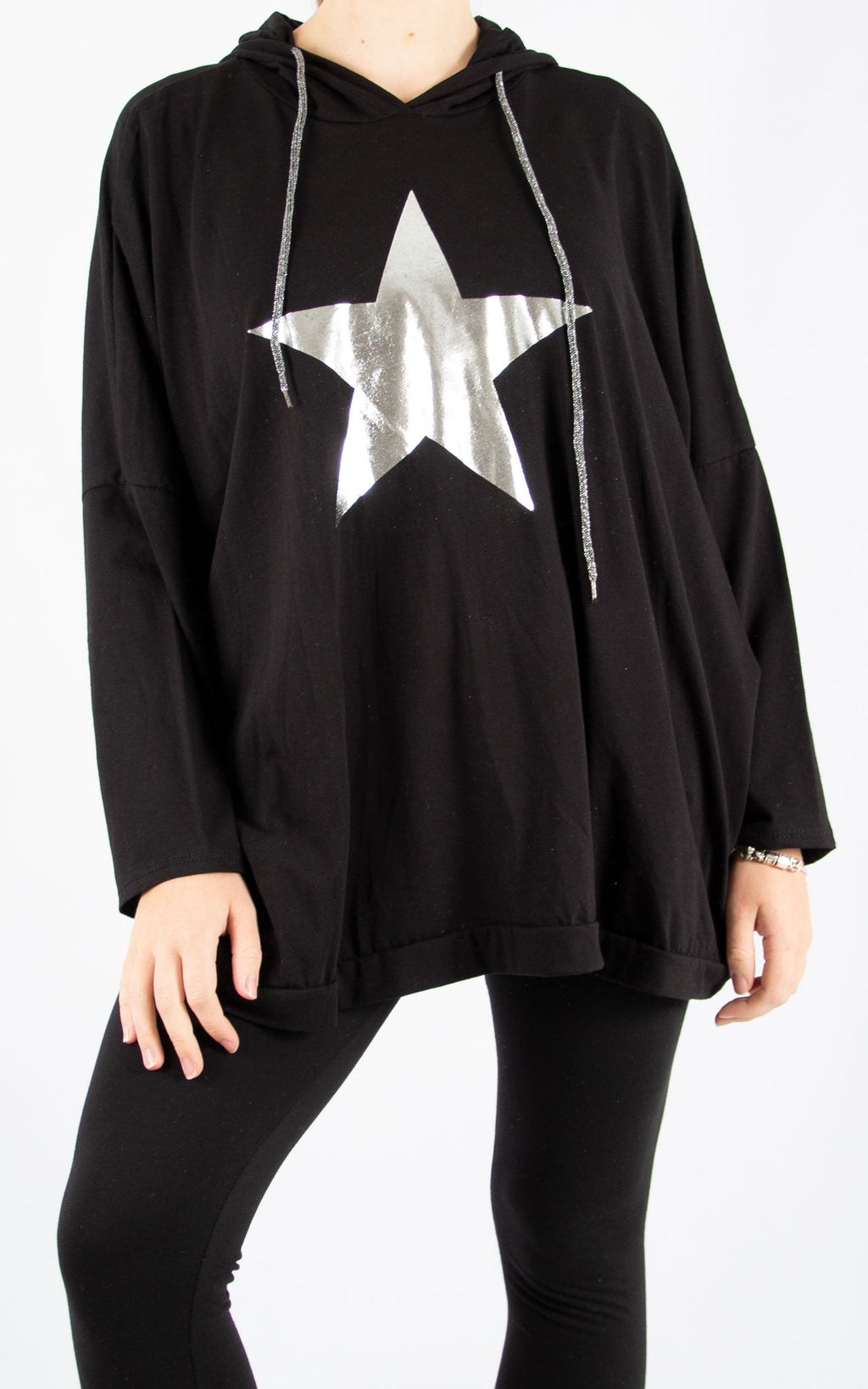 Layla Black Foil Star Hoodie | Made In Italy
