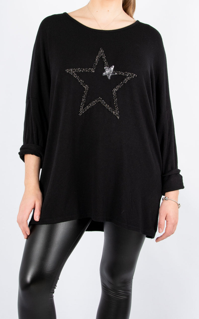Star | Fine Knit Top | Black