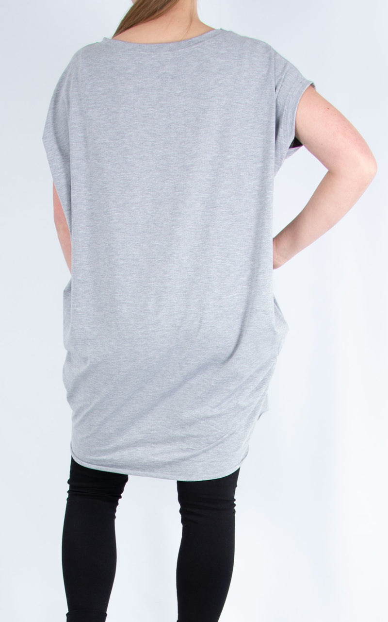 Star Long T Shirt Grey