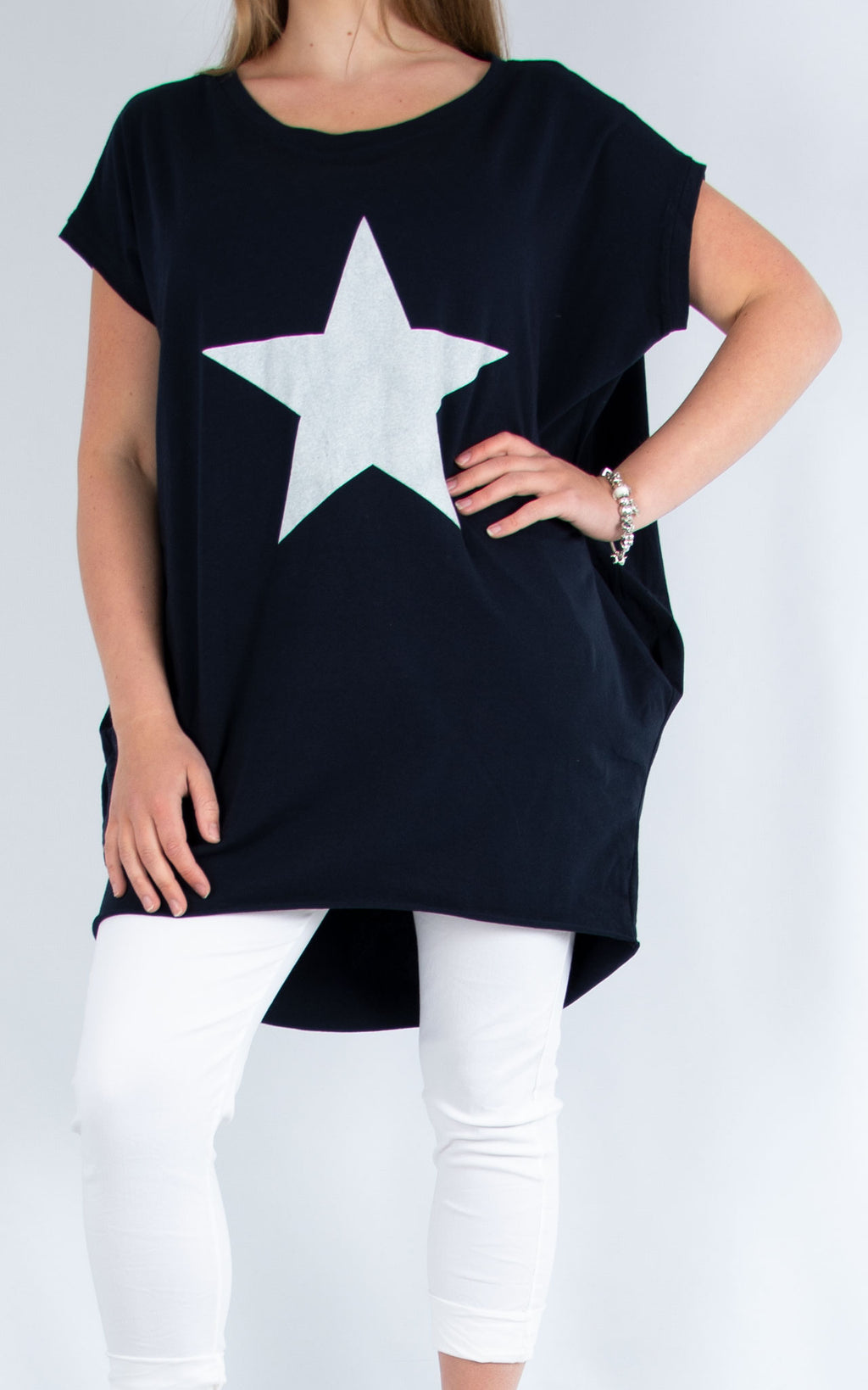 Star Long T Shirt Navy