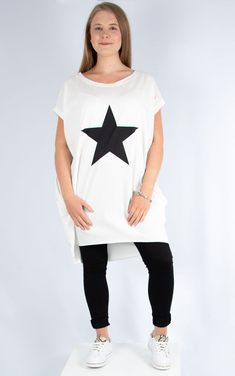 Star Long T Shirt White
