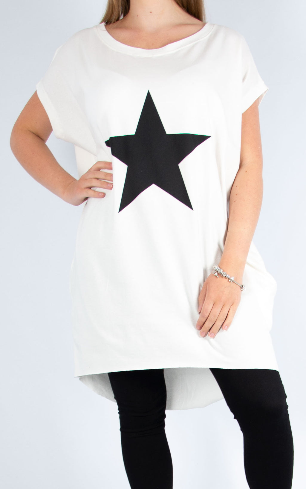 Rachel T | White Star Long T Shirt