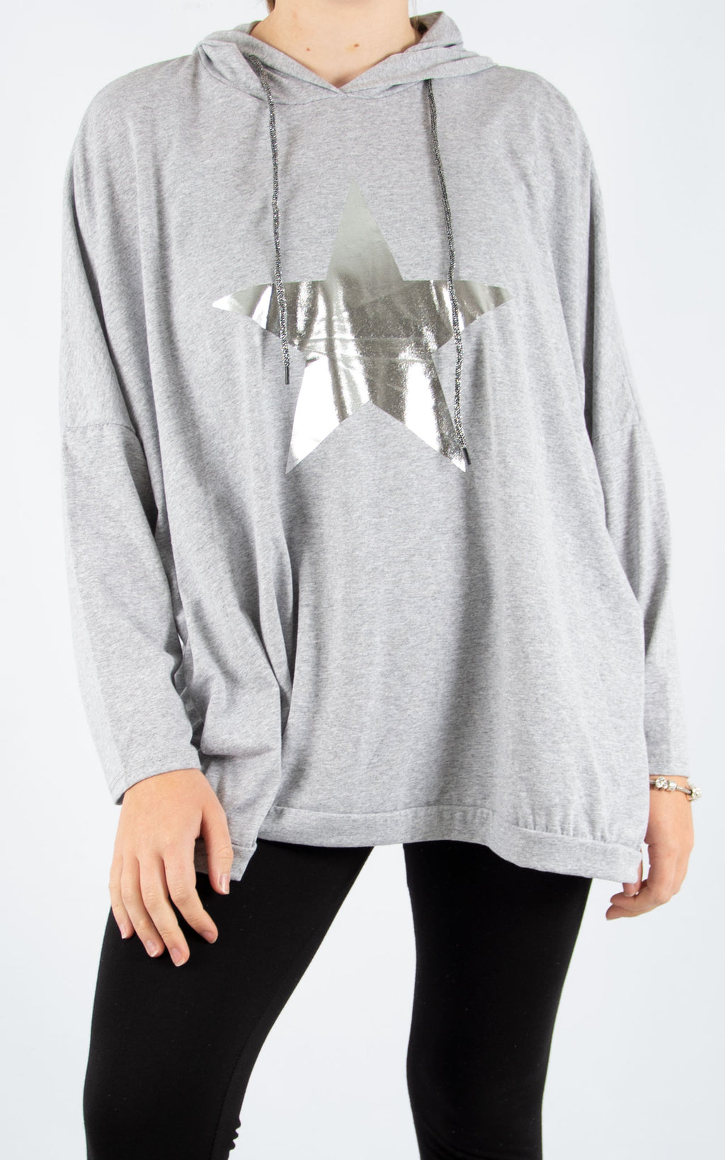 Layla Grey Foil Star Hoodie | Made In Italy