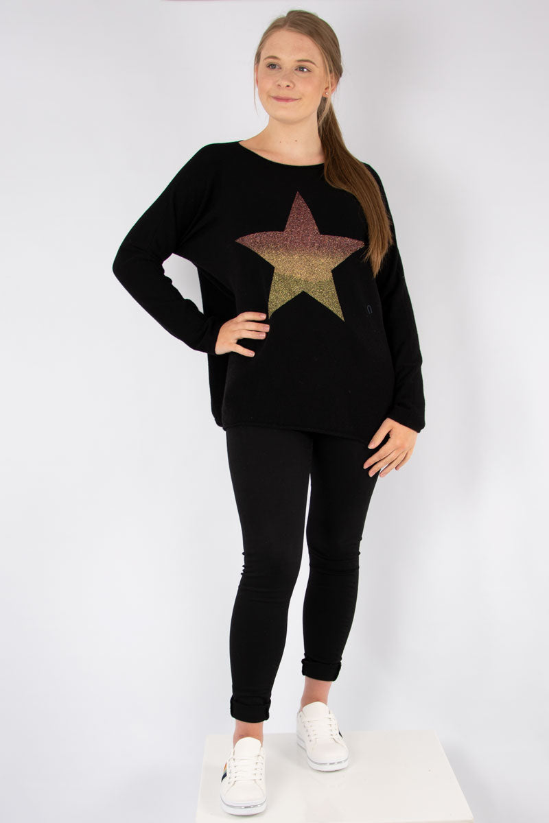 Black Ombre Star Knit | Made in Italy