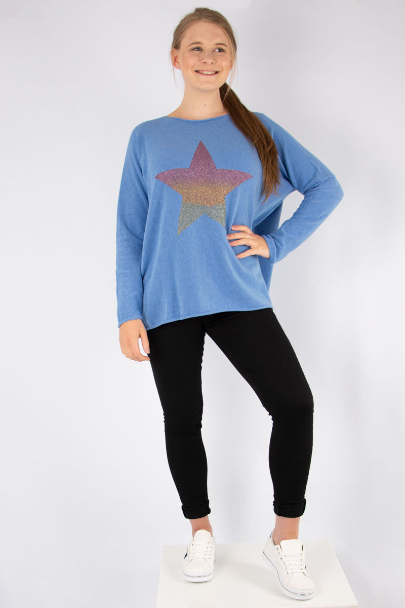 Blue Ombre Star Knit | Made in Italy
