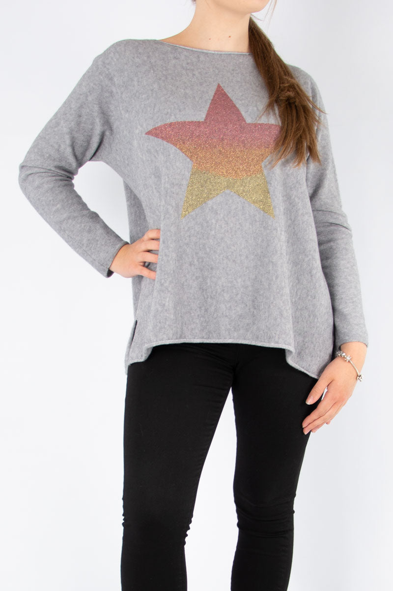 Grey Ombre Star Knit | Made in Italy
