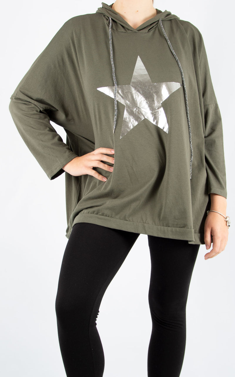 Layla Khaki Foil star Hoodie | Made In Italy
