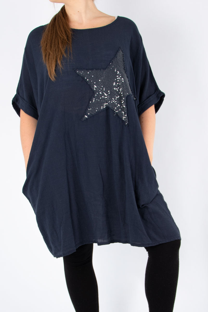 Navy Sequin Star Tunic | Made in Italy