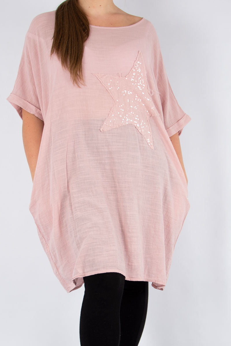 Pink Sequin Star Tunic | Made in Italy