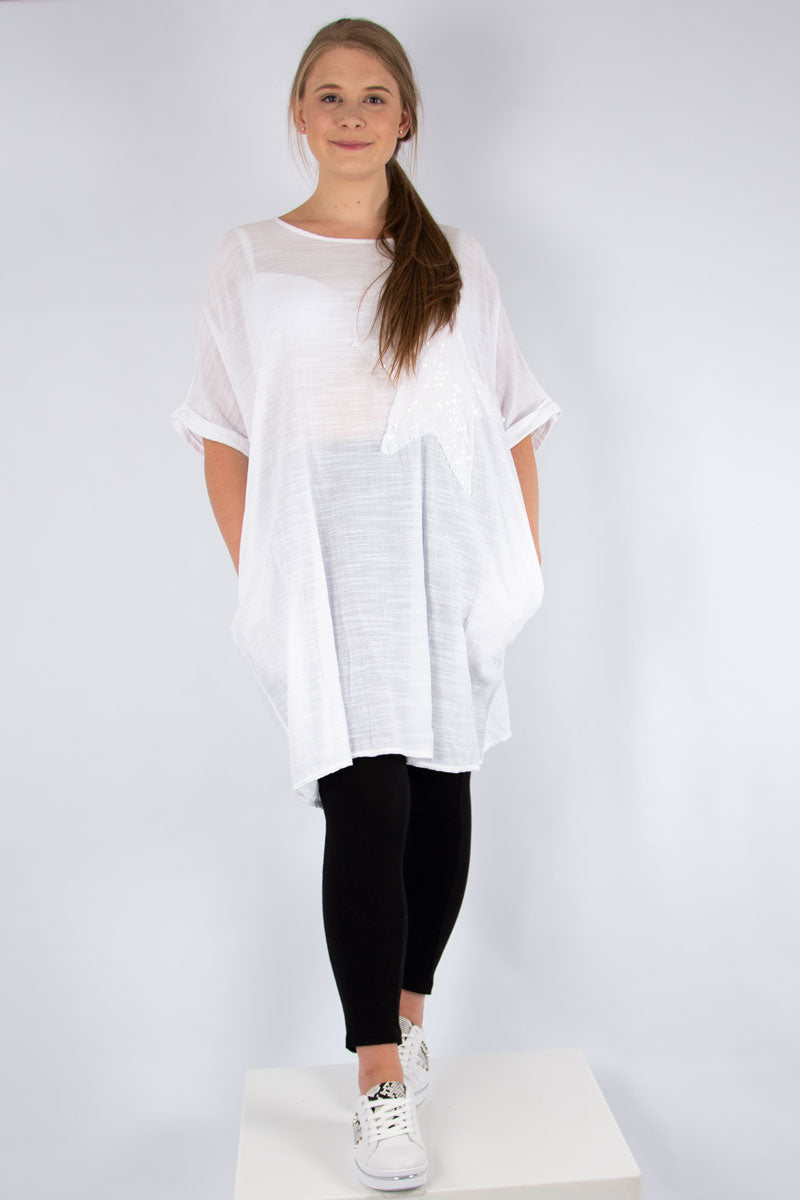 White Sequin Star Tunic | Made in Italy