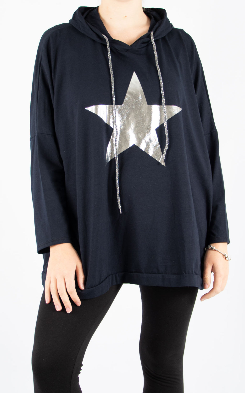 Layla Navy Foil Star Hoodie | Made In Italy