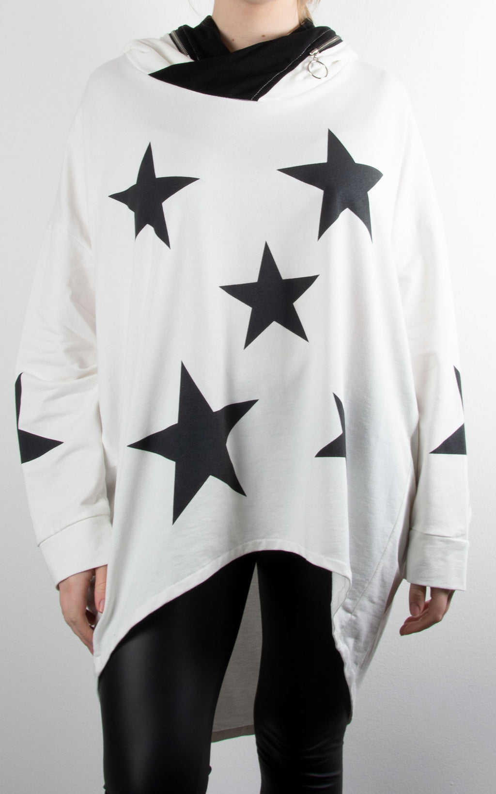 Star Print Zip Hoodie | Winter White