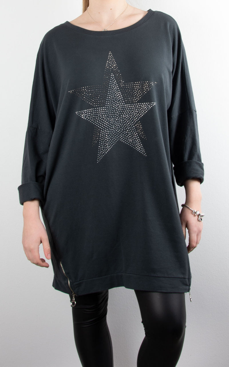 Star Stud Zip Sweat | Charcoal