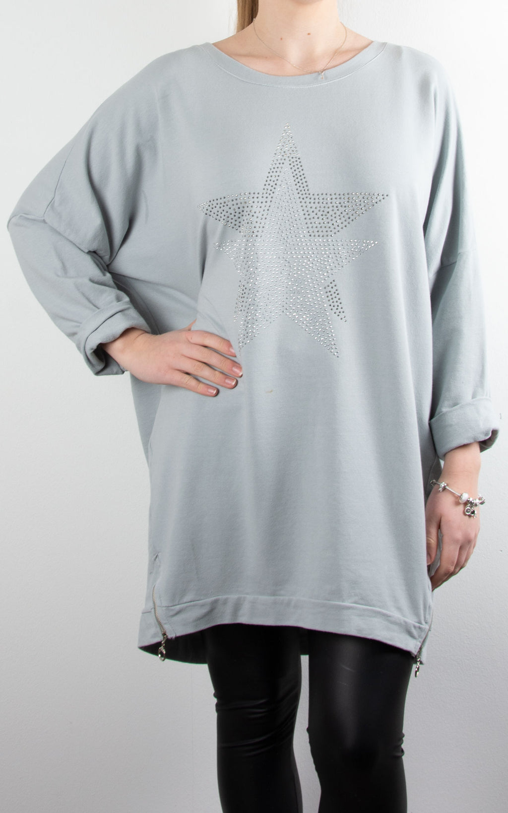 Star Stud Zip Sweat | Grey