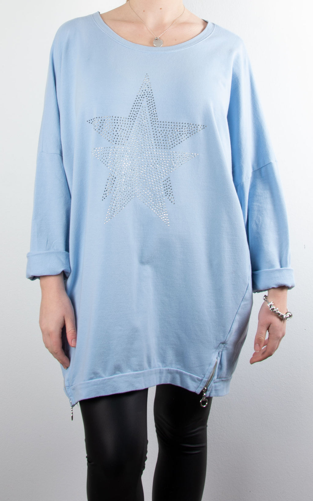 Star Stud Zip Sweat | Sky Blue