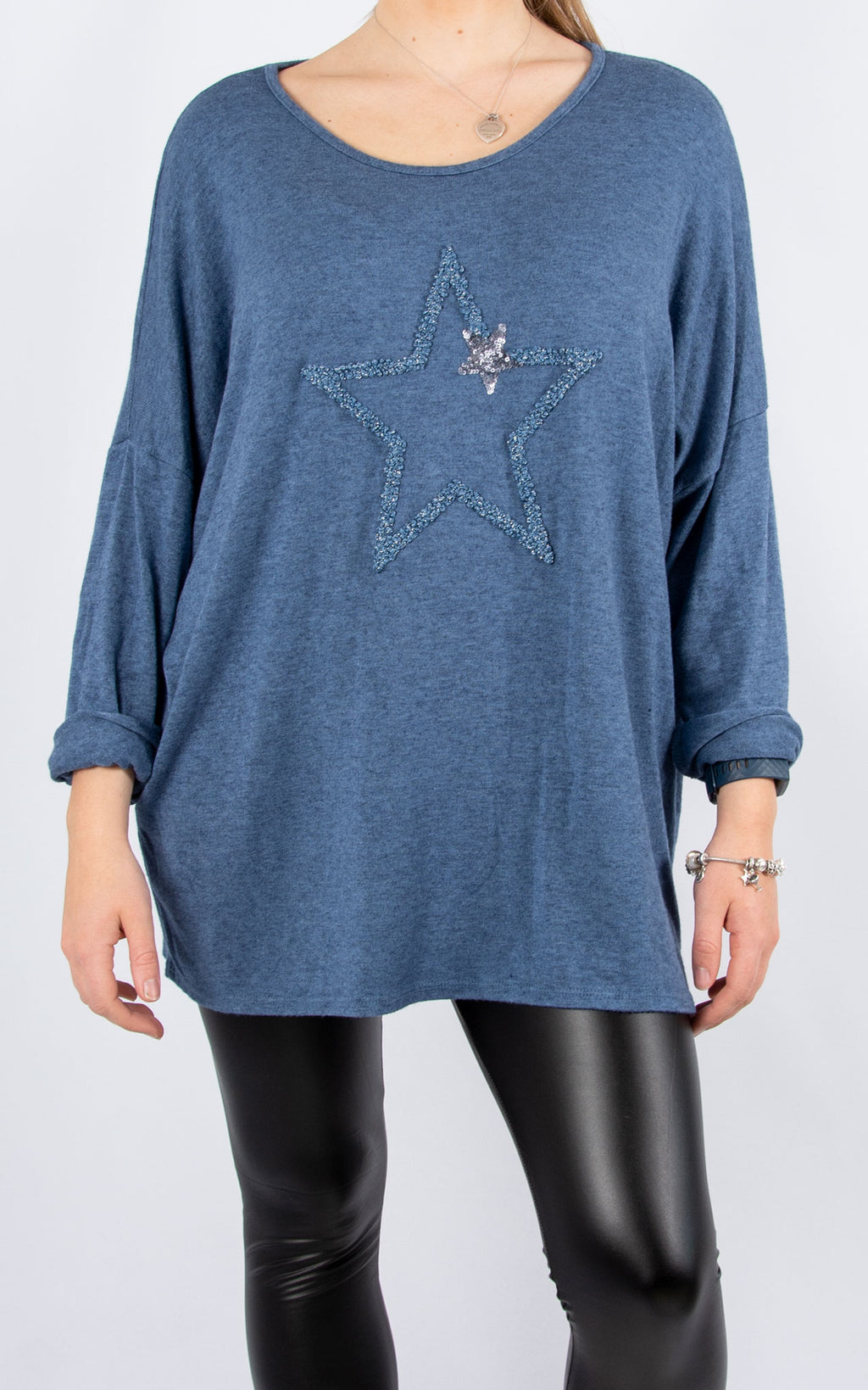 Star | Fine Knit Top | Denim Blue
