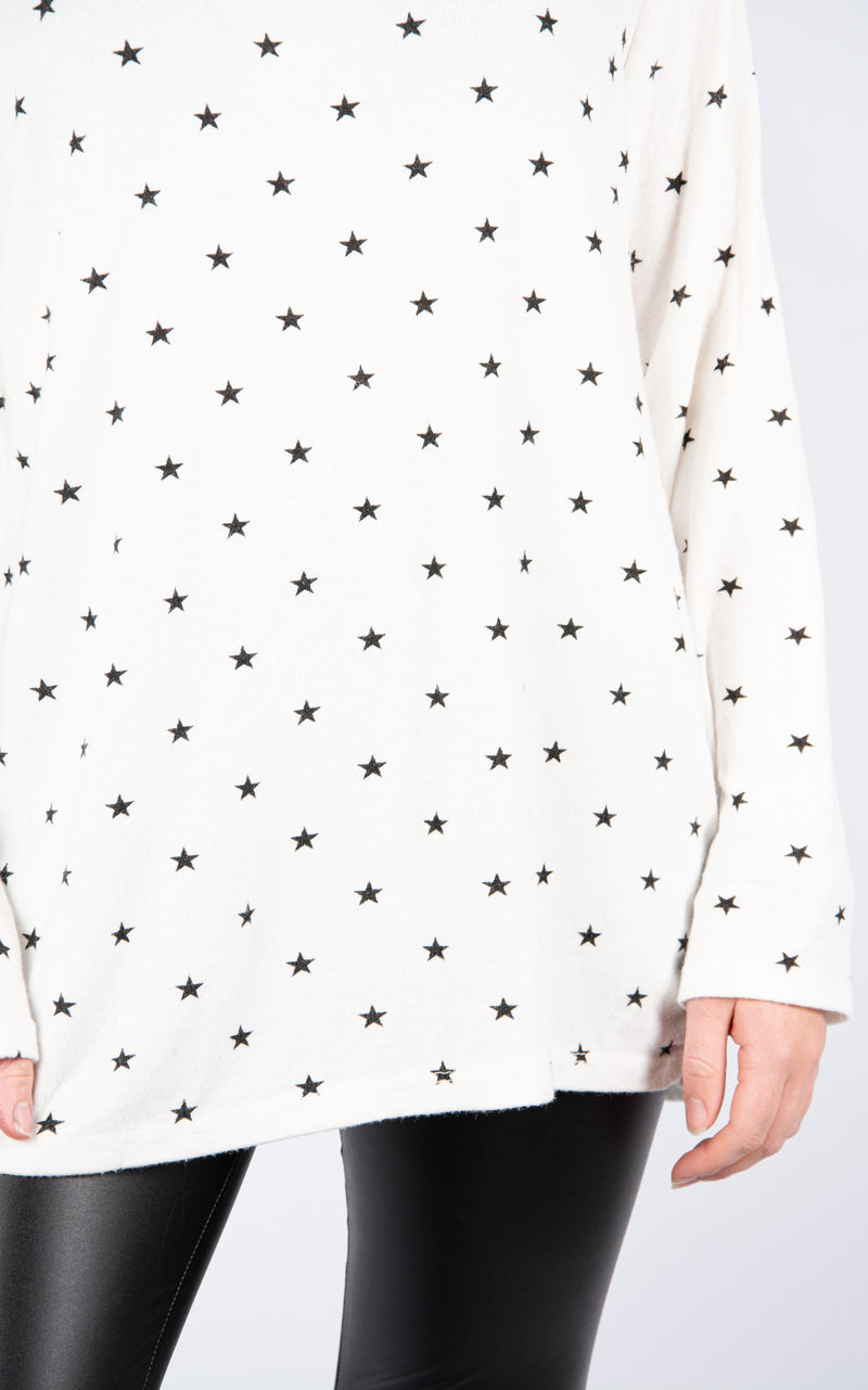 Stars | Fine Knit Top | White