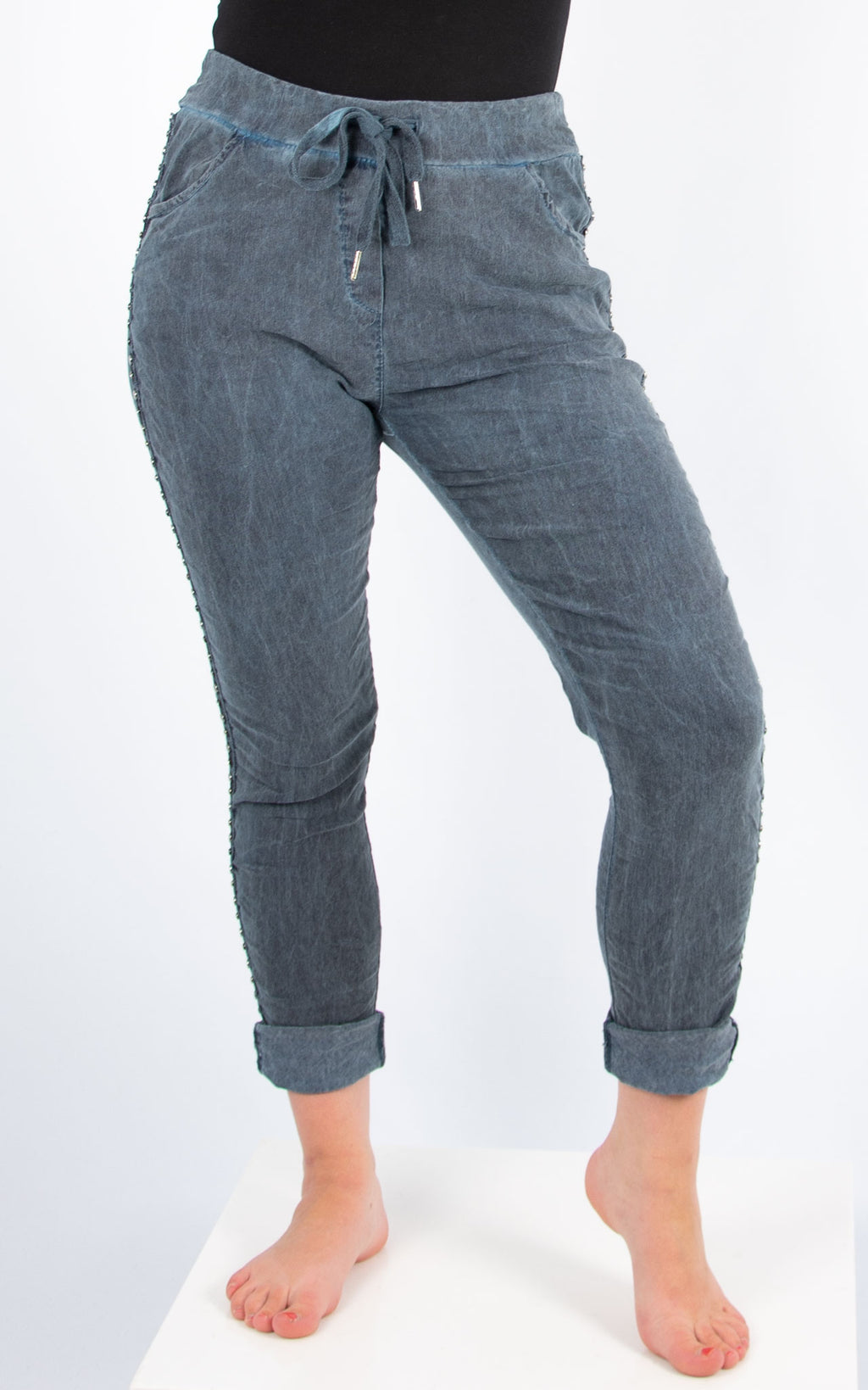 Blue Stud Side Joggers | Made in Italy