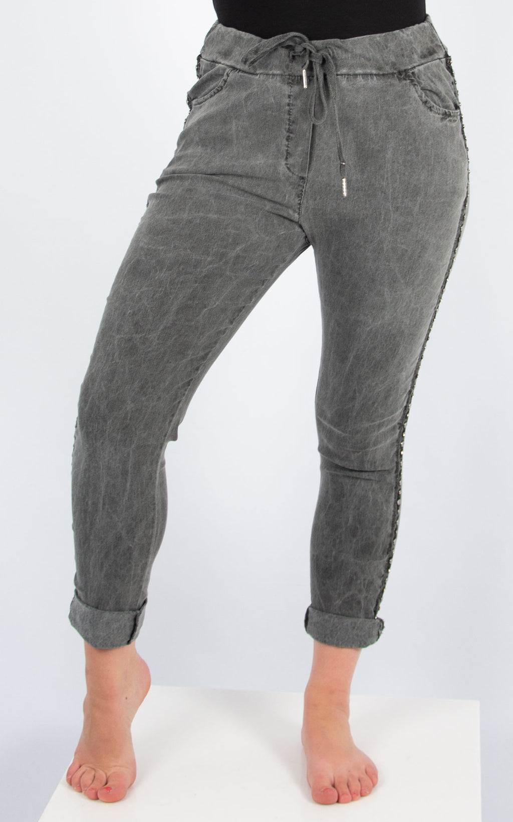 Dark Grey Stud Side Joggers | Made in Italy