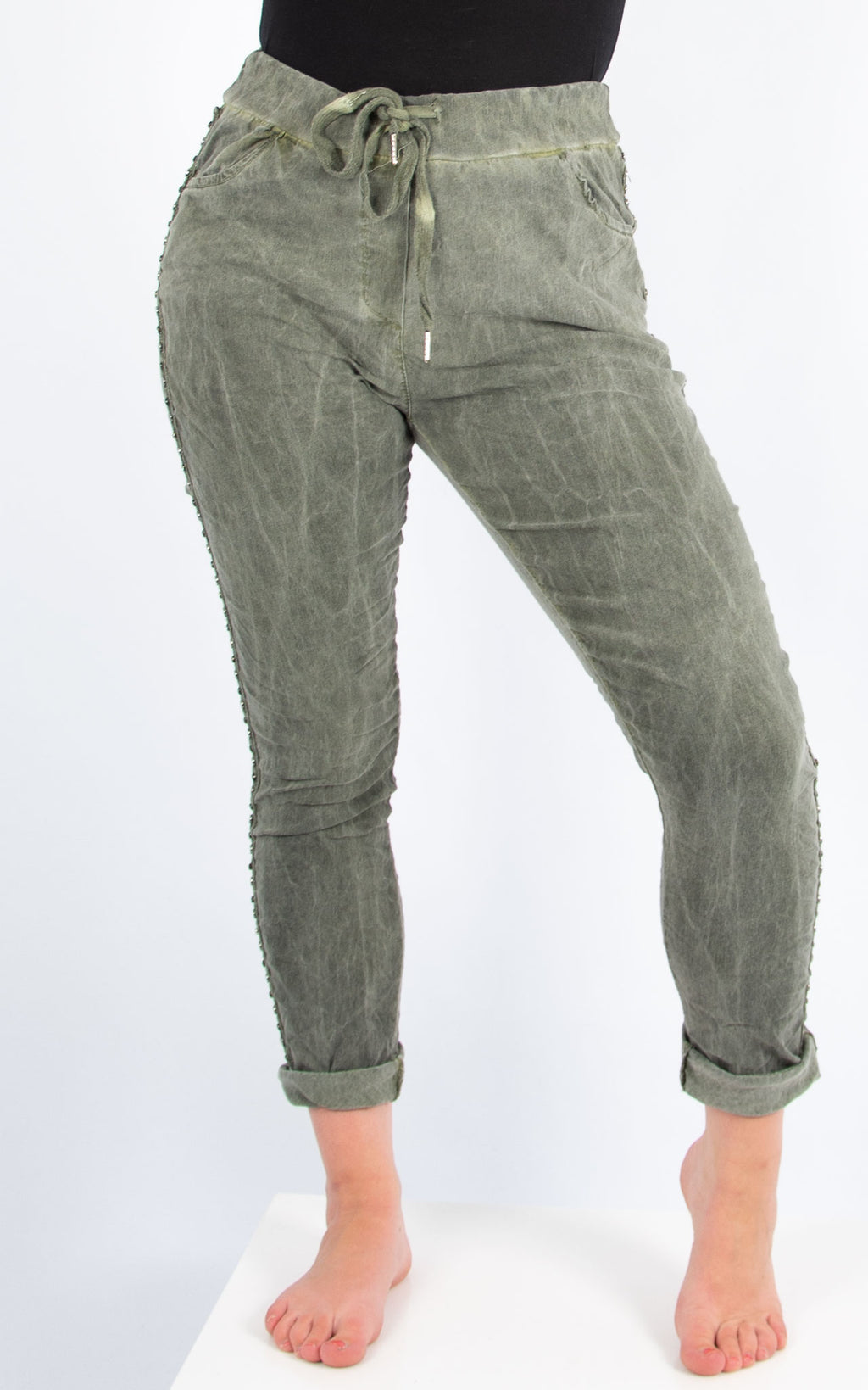 Khaki Stude Side Joggers | Made in Italy