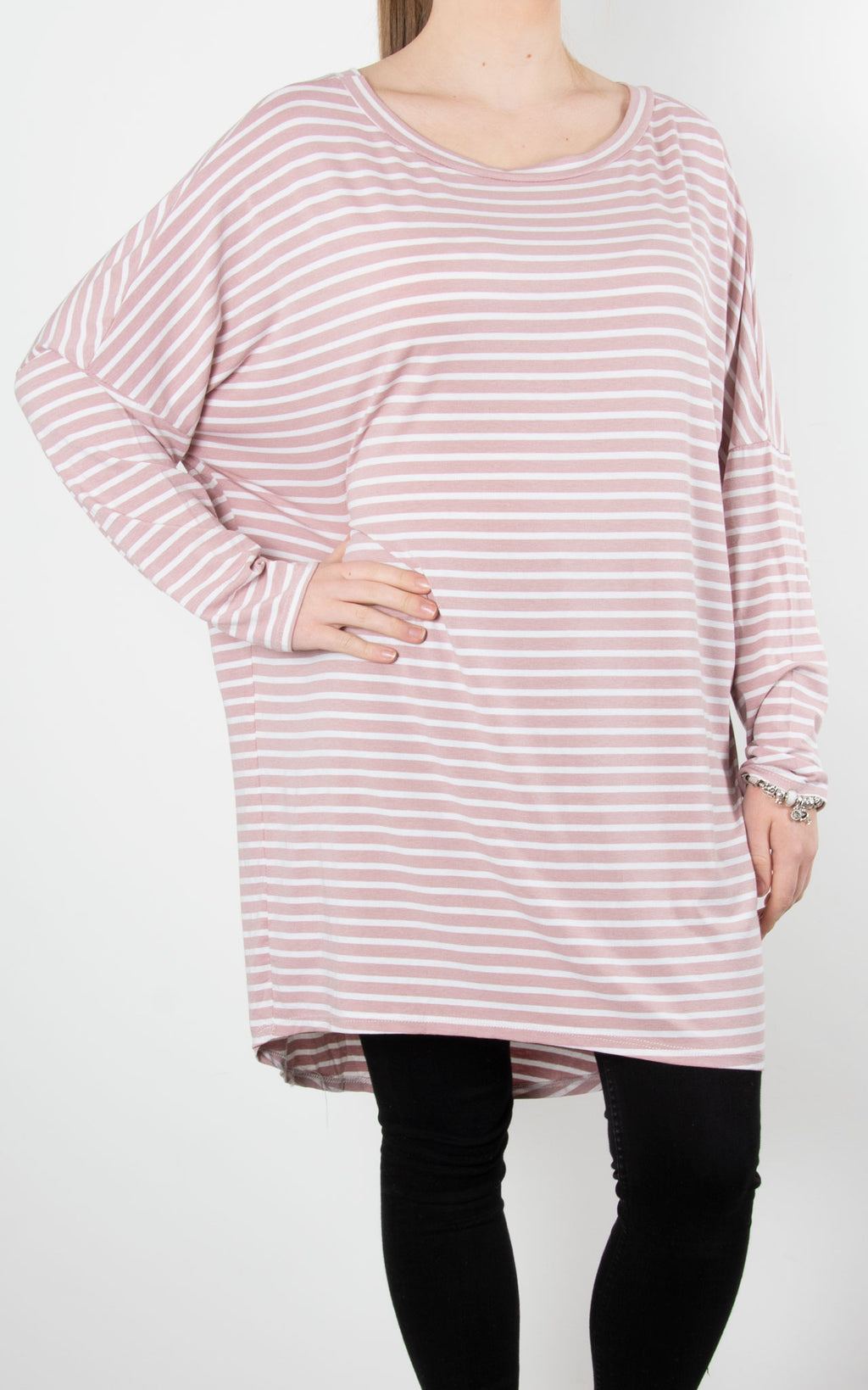 Sue Stripe Tunic | Dusky Pink