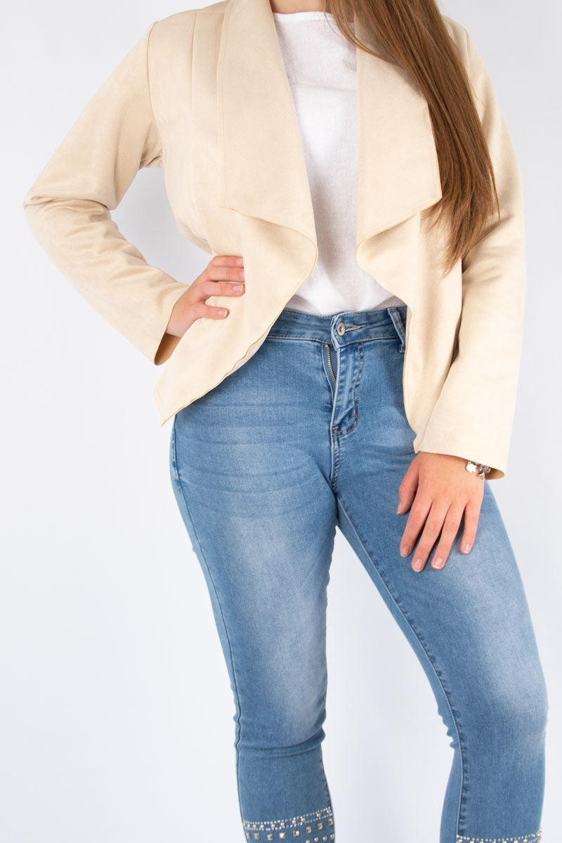 Suedette Waterfall Jacket | Beige