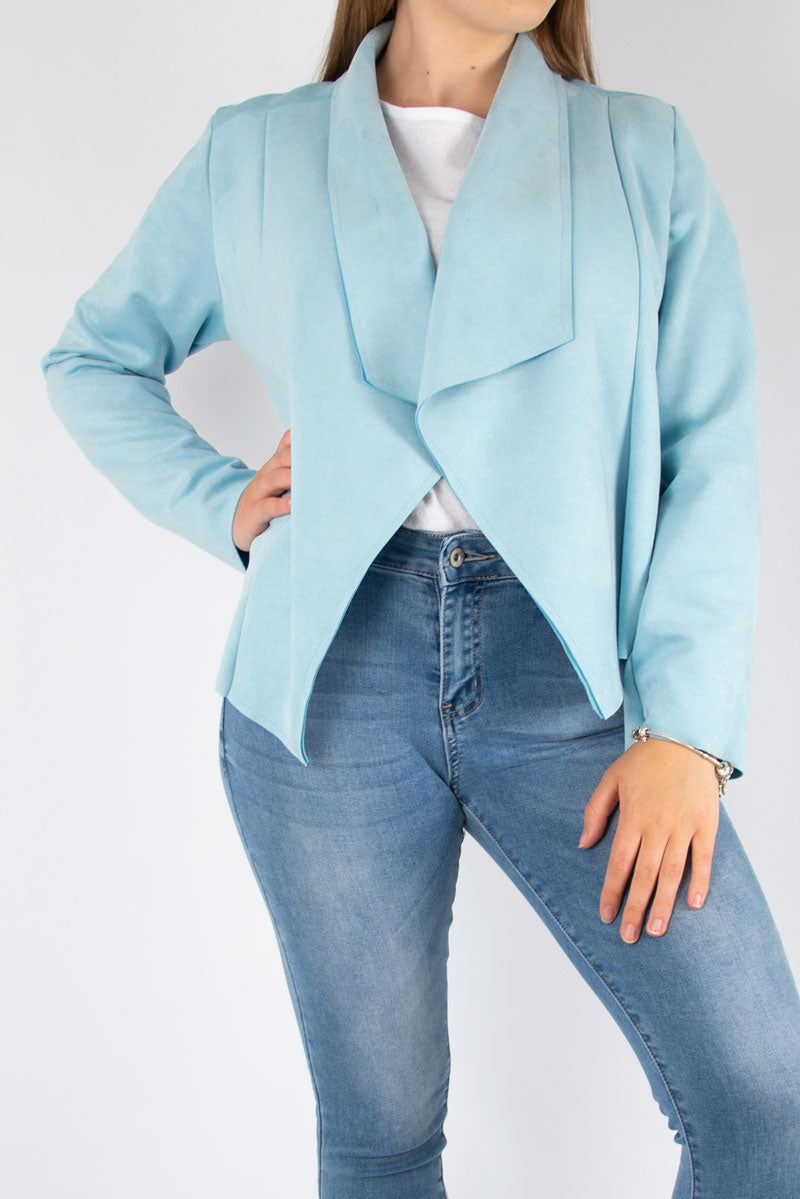 Suedette Waterfall Jacket | Sky Blue