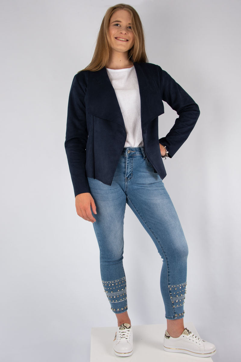 Suedette Waterfall Jacket | Navy