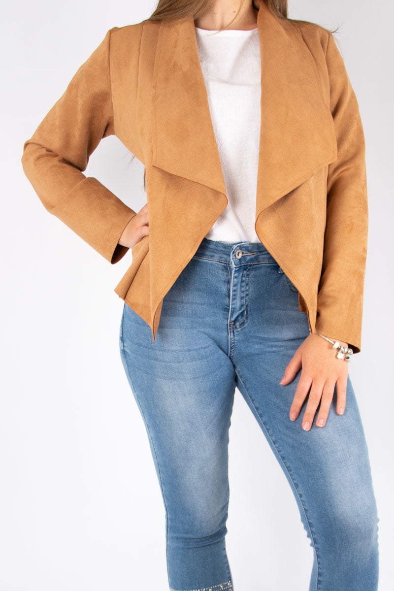 Suedette Waterfall Jacket | Tan