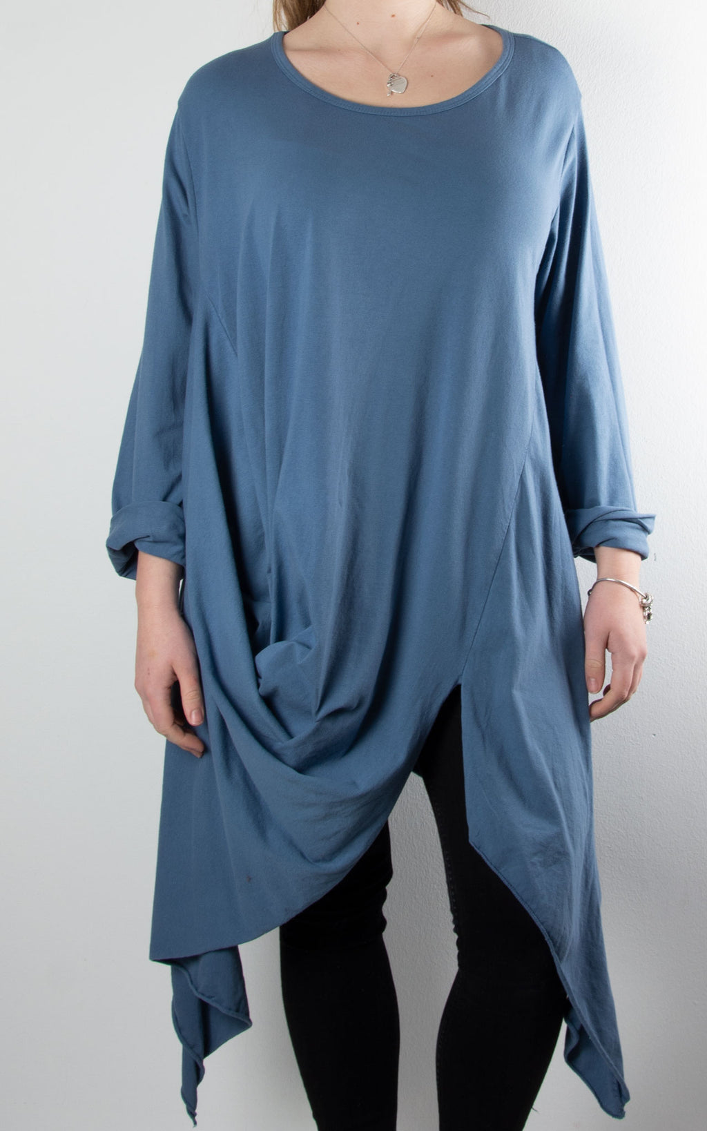 Suki Cocoon Top | Denim Blue