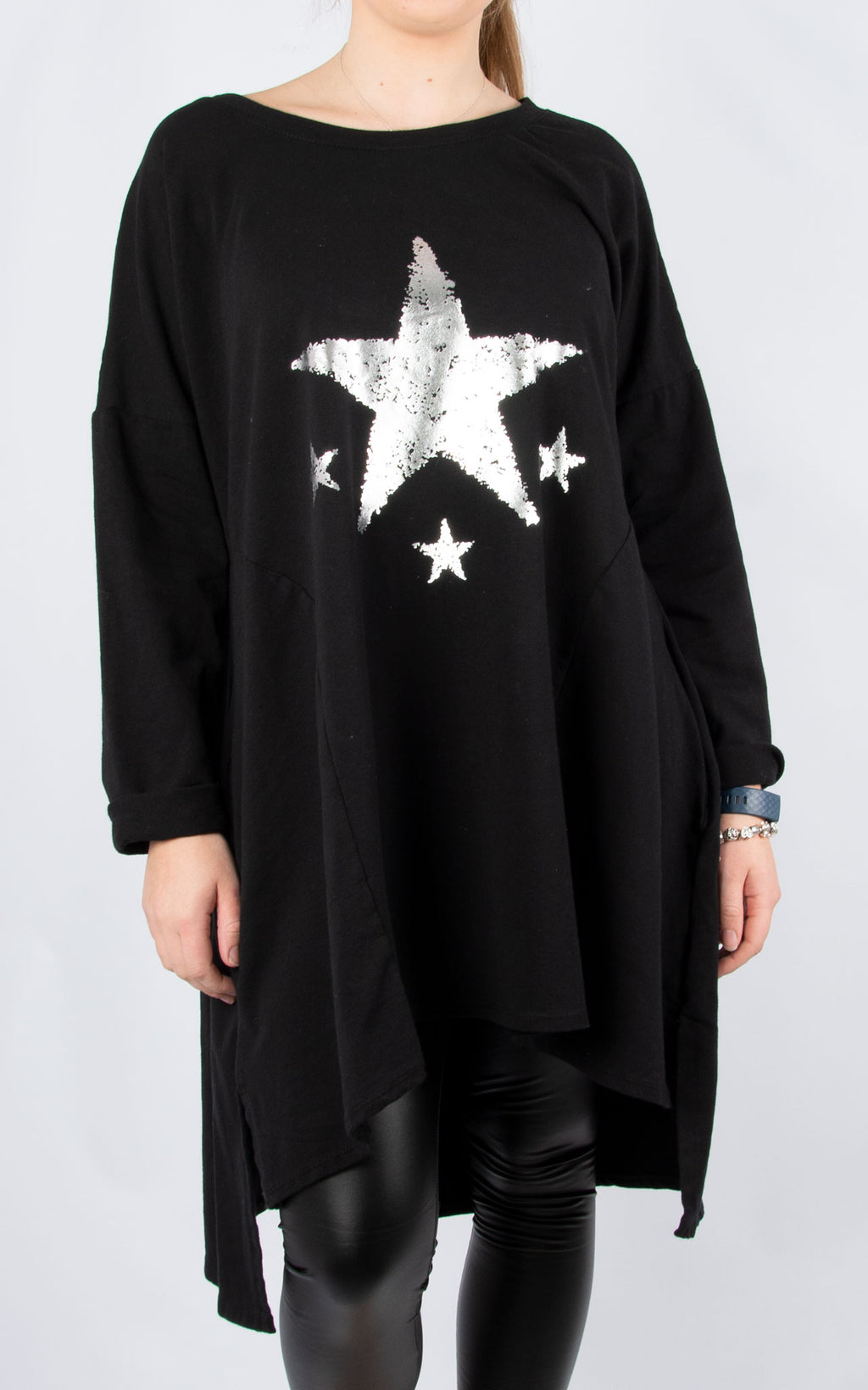 Sweat Tunic Dress | Stars | Black